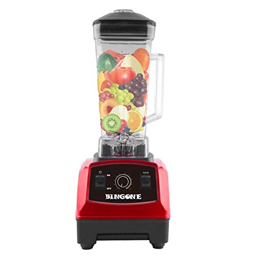 Bingone Commercial Blender,Professional Table Electric 28000 RPM High Speed Smoothie Mixer System with 2.0 Liter ,Fruit/Vegetable Juice Maker(Red)