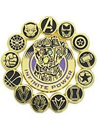 Marvel Avengers: Infinity War Official Infinity Gauntlet and Avengers Pin Set   Features Superhero Seals & Infinity Gauntlet   Set of 2