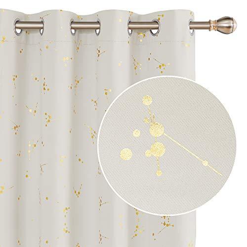 Deconovo Tende Oscuranti Moderne Termiche Isolanti per Finestre Interni con Occhielli 132x160cm Beige Chiaro 2 Pannelli