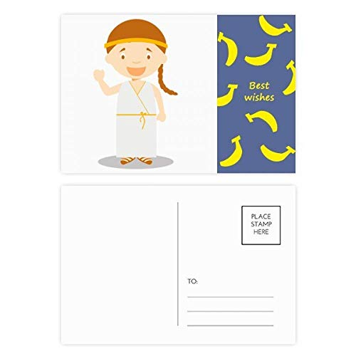 DIYthinker Lange Witte Jurk Griekenland Cartoon Banaan Postkaart Set Thanks Card Mailing Side 20 stks 5.7 inch x 3.8 inch Multi kleuren