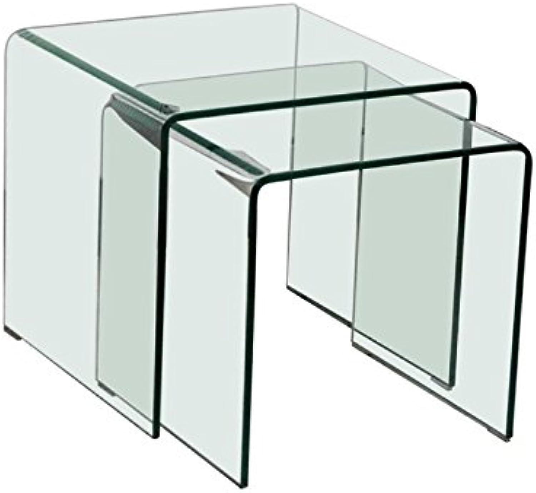 Beistelltische Glastisch 2er Set quadratisch