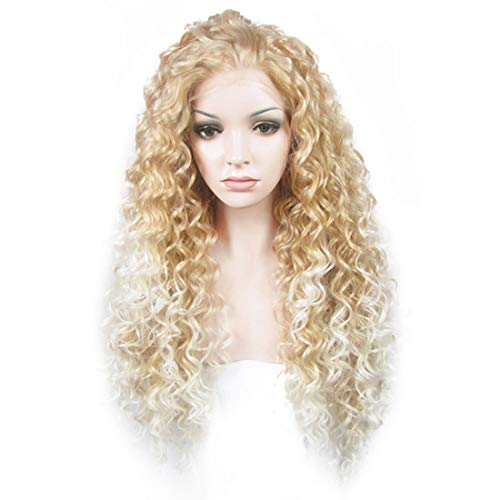 Ebingoo Long Curly Brown Lace Front Wig Synthetic Hair Wigs for Women N18 30+27HR (White Mix Blonde)