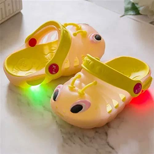 Zapatillas de verano para niños y niñas, con luces LED, para jardín, playa, piscina, ducha, dibujos animados (tamaño: 21, color: rosa)