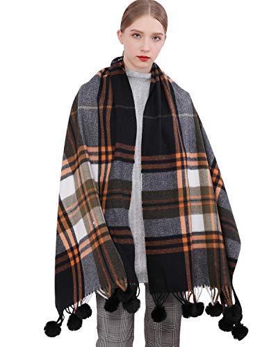 RIIQIICHY kasjmier wollen sjaal Pashmina sjaal wrap voor vrouwen lange grote winter warme dikke sjaals met bont pompom bal zwart