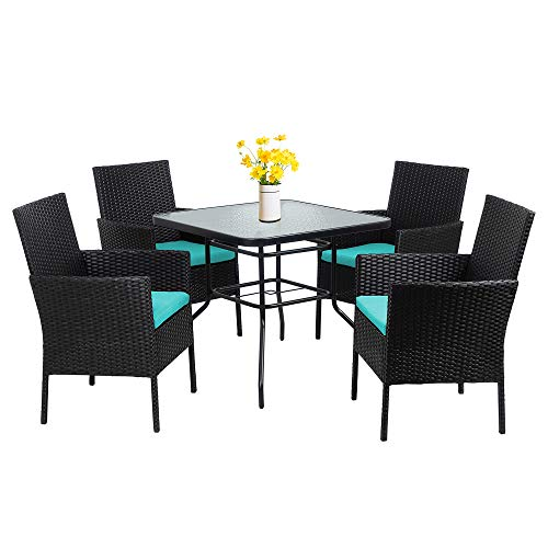 Walsunny 5-Piece Indoor Outdoor Wicker Dining Set Furniture,Square Tempered Glass Top Table with Umbrella Hole,4 Chairs-Black(Blue Cushions)