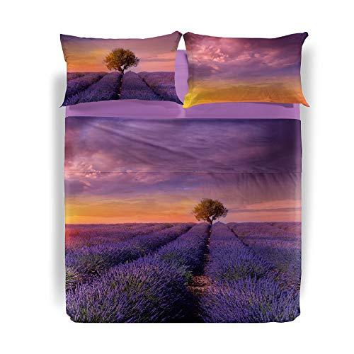 Caleffi Lavender Sunset Lenzuola Copriletto, Cotone, Unica, Matrimoniale