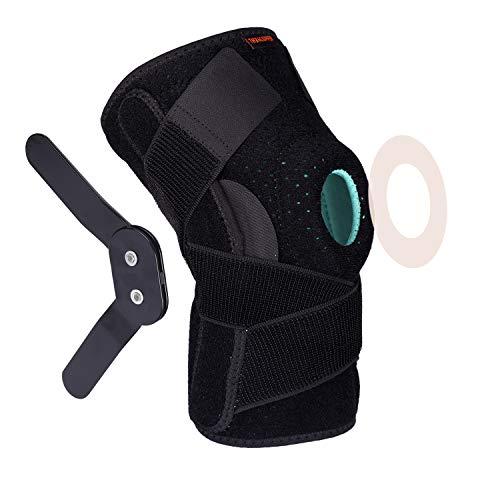 Thx4COPPER Knieorthese mit Schiene - Verstellbare offene Patella mit Riemen und Seitenstabilisatoren Kniegelenkstütze - Kompressions Kniestütze,Kniebandage für Knieschmerzen, ACL, MCL, Arthritis-L