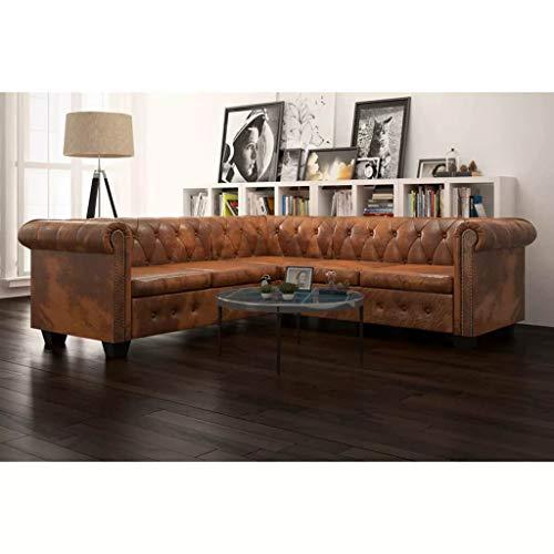 L-Form Holzrahmen Couch Chesterfield Sofa 5-Sitzer Kunstleder Braun Ecksofa Schlafsofa Bettsofa with Size:205 x 205 x 73 cm (L x B x H)