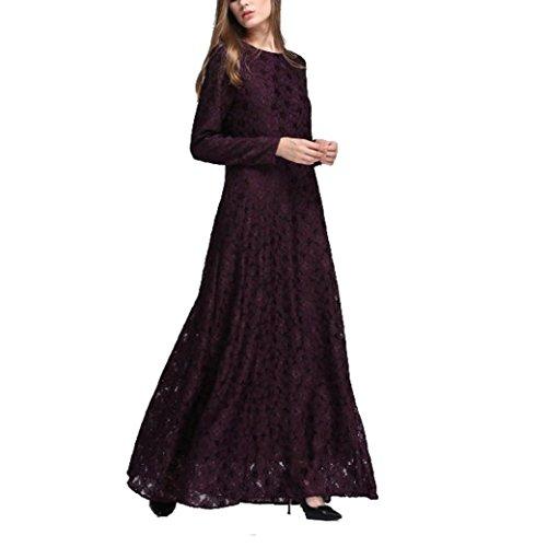Amphia Damen Muslim Kleidung, Frauen Muslim Abaya Dubai Kleider islamischen Hochzeitskleid Kleid Kaftan Rayon Gewand (Schwarz, L)