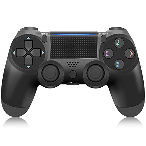 PS4 Controller Wireless Bluetooth Gamepad for Sony Playstation 4 with USB Cable Compatible with Windows PC & Android iOS Black (Black)