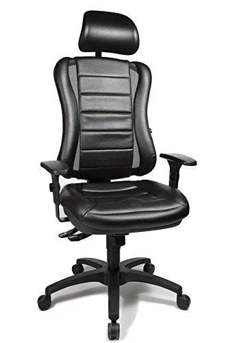 """Topstar HE30P S100RX Head Point RS \""""P4\"""", Bürostuhl, Schreibtischstuhl, inkl. höhenverstellbare Armlehnen, Kopfstütze, Polsterung schwarz, rote Steppnaht"""