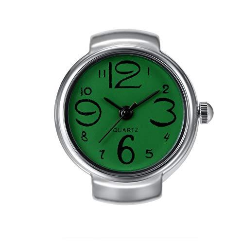 Lancardo Reloj Anillo Fashion Diseño Cadena Elástica Reloj Decorativo Creativo Dial Verde Redondo con Escala Digital Reloj de Cuarzo Joyería de Bisuteria 1 ATM Impermeable Regalo para Mujer Hombre