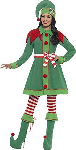 Smiffys 46129S - Damen Elfen Kostüm, Kleid, Hut, Stiefel Überzieher, Strumpfhose und Gürtel, Größe: 36-38, grün