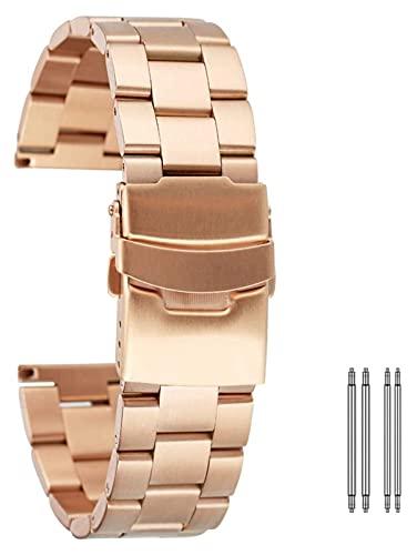 FETTR Correa de reloj de acero inoxidable de 20 mm y 22 mm de metal, barras de resorte, pulseras de pulsera con cierre plegable con correa de seguridad oro rosa azul (color: oro rosa, tamaño: 20 mm)