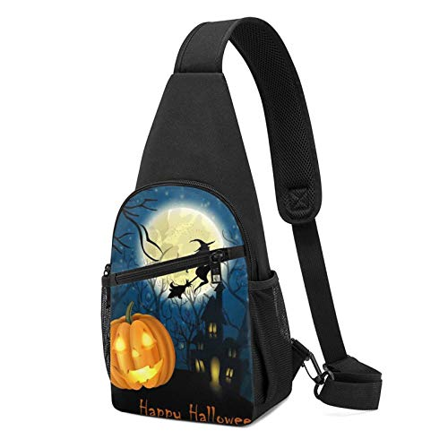Mochila de calabaza con estampado de Halloween, mochila ligera para el pecho, bolsa de viaje, senderismo, bolsa de hombro cruzada, color Negro, talla Talla única