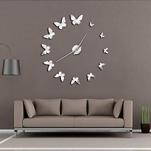 Brands - Reloj de pared para salón, diseño de mariposa, acrílico, acrílico, Plateado, 80-130cm