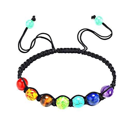 Pulsera de ágata de colores volcánicos con piedras preciosas preciosas redondas sueltas, accesorio de joyería para mujeres, hecho a mano, cadena ajustable de macramé