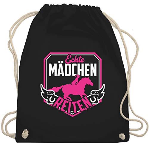 Shirtracer Reitsport - Echte Mädchen reiten Fuchsia/Weiß - Unisize - Schwarz - Fun - WM110 - Turnbeutel und Stoffbeutel aus Baumwolle