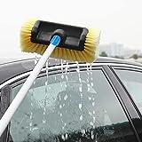 Gidenfly Cepillo de lavado de coche con mango largo, cepillo de lavado de coche telescópico de 1,2 metros con boquilla de tubo, cabezal de cerdas suaves para camping, camiones