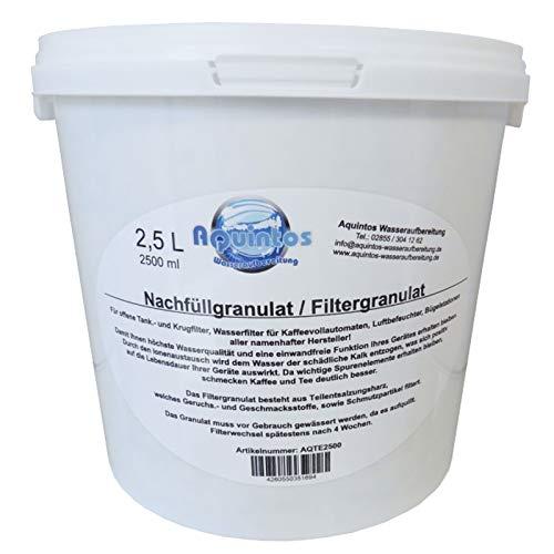 2,5 L Aquintos AQTE2500 Nachfüllgranulat - Filtergranulat - Teilentsalzungsharz - für offene Krug- und Tankfilter / alle Namhaften Kaffeemaschinen Hersteller / Tischwasserfilter / Bügelstationen / Luftbefeuchter / Wasserfilter / Filterpatronen / Filterkartuschen / Refill-Kartuschen / Nachfüllkartuschen- Kaffeemaschinenfilter