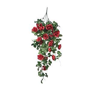 simulation fake flower rose vine wall hanging artifical flowers orchid hanging basket flower living room balcony home decoration flower(red) silk flower arrangements