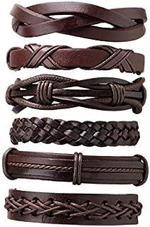 CamKpell 6PCS / Set Uomini Multistrato di Colore Solido PU Cinturino in Pelle Intrecciata Braccialetto Casuale Braccialett...