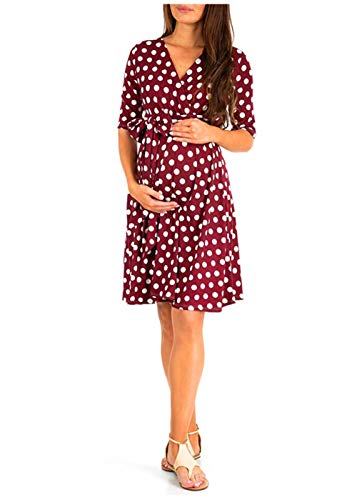 Women Maternity Dress Nursing Solid Breastfeeding Summer Soft Dress for Pregnant Wave Point Clothes, XL, Red
