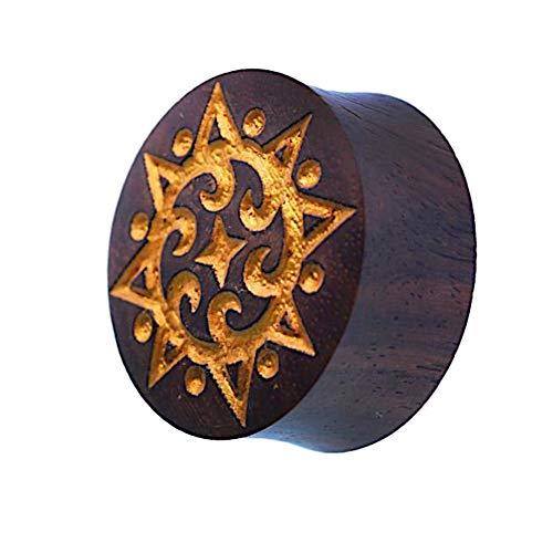 Enchufe puntos de oro de madera de color marrón oscuro de grabado...