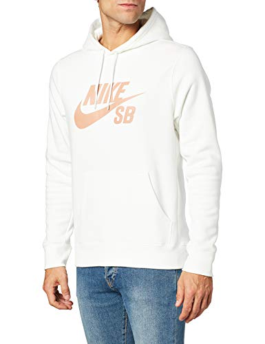 Nike SB Icon Essential Men's Pullover Hoodie - AJ9733 (Summit White/Rose Gold, Large)