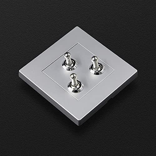 SYunxiang Tipo de hogar 86 Loft Oculto Luz de Viento Panel de PC de Lujo Palanca de latón Retro Hotel Casa de huéspedes Interruptor Gris Plateado