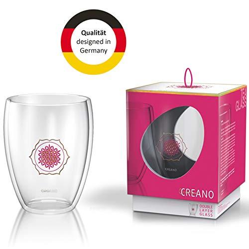Creano doppelwandiges Tee-Glas, Latte Macchiato, Thermobecher Blume des Lebens | 250ml, in exklusiver Geschenkbox 1x 250ml