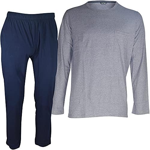 HOM Cotton Comfort Long Sleepwear Juego de Pijama, Azul Marino, L para Hombre