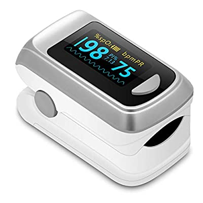 Fingertip Pulse Oximeter Blood Oxygen Saturation Monitor?Heart Rate and Fast Spo2 Reading Oxygen Meter with OLED Screen Batteries