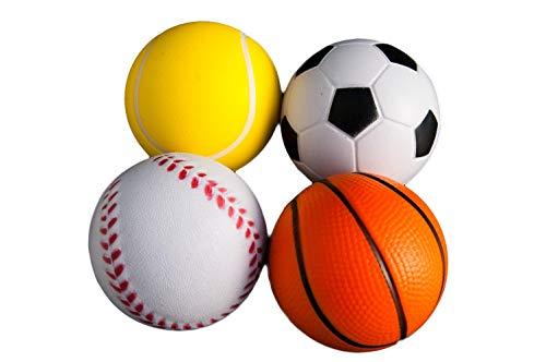 envami | 4Stk | Stressball im Mini Sportball Design | 6,35cm | Antistressbälle Stressbälle in Mehreren Härtegraden Stress Balls auch als Mitgebsel fürs Büro oder Kindergeburtstag