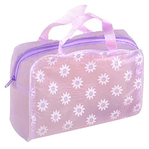 8 Pcs Floral Violet Transparent Waterproof Pouch Voyage sac cosmétique