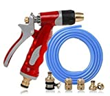 Easy to operate, Car wash water gun household 15 meters water pipe pcv + copper car washer high pressure water gun garden hose tool set with tube gun anti-freeze explosion-proof Simple and fast