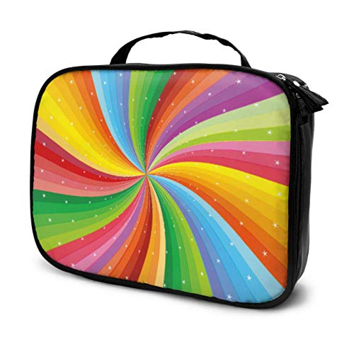 Abstrait Rainbow Stripe Stars Travel Cosmetic Bag Grand Makeup Case Organizer Man Toiletry Bag Multifunction Printed Pouch for Women