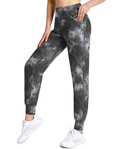 OMANTIC Pantalones de yoga de cintura alta para correr, pantalones de yoga cónicos con bolsillos, pantalones de entrenamiento casuales para el salón, Tinte gris oscuro, Large
