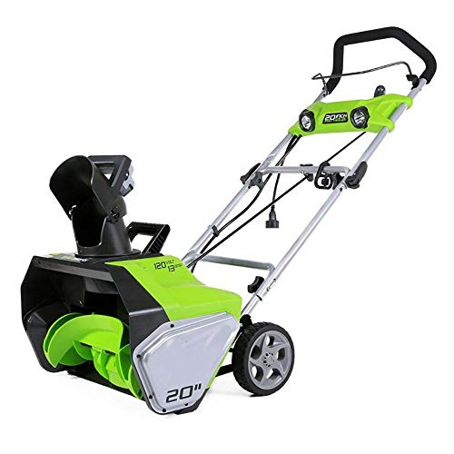 Greenworks 13-Amp 20-Inch Corded Snow Thrower With Dual LED...