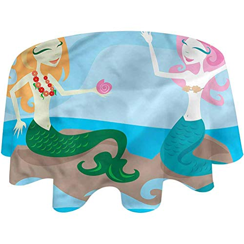 Outdoor Tablecloth Underwater Patio Table Cloth Mermaids Enjoy The Ocean for Kitchen Dinning Tabletop Decoration Round,54 inch