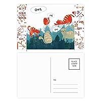 青いタコ海洋生物の漫画のパターン 公式ポストカードセットサンクスカード郵送側20個