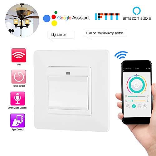 Redxiao Interruptor de luz Inteligente, Control Remoto del teléfono WiFi Control Inteligente de luz Control Remoto del teléfono móvil para Alexa/Google Home/IFTTT Enchufe de la UE(1)