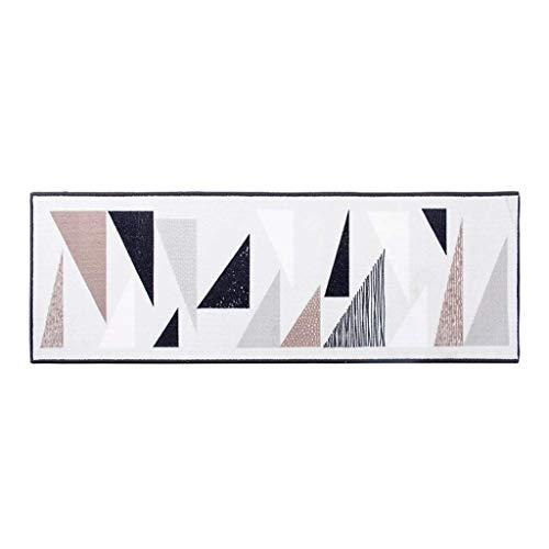 QFF Living Room Deurmat Decoratie, Badmatten Kleurrijke Driehoek Tapijt Eenvoudige Ins Foyer Slaapkamer Tapijt Figuur Strip Tapijt Korte Paal Tatami Niet-slip Duurzame voetdoeken 40×150cm Kleur: wit