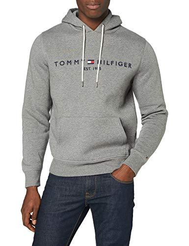 Tommy Hilfiger Tommy Logo Hoody Maglione, Dark Grey Heather, L Uomo
