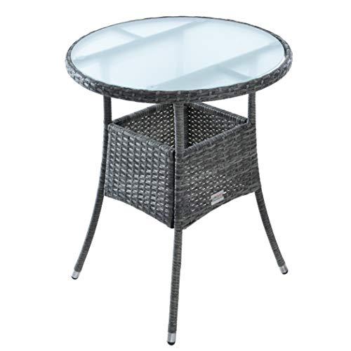 ESTEXO Polyrattan Beistelltisch Gartentisch Rattan Tisch Balkontisch Gartenmöbel Rund Kaffeetisch Teetisch Couchtisch Rattantisch (Anthrazit-Grau)