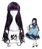 XIAOGING Tarjeta de vestuario Card Captor Sakura Daidouji Tomoyo peluca rizada larga de Cosplay del captor de Mujeres de calor sintético resistente partido pelucas de pelo