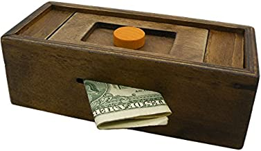 Puzzle Box Enigma Secret Discovery - Money and Gift Card Holder in a Wooden Magic Trick Lock with Hidden Compartment Piggy Bank Brain Teaser Game