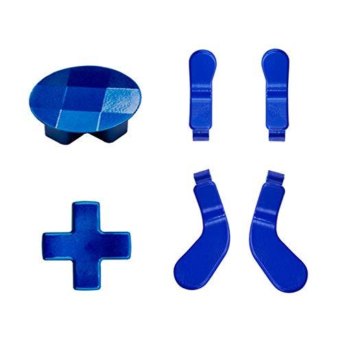 4 Stück Trigger-Paddel und 2 austauschbare D-Pads Metall Edelstahl Ersatzteile für Elite Series 2 und Xbox One Elite Controller (blau)