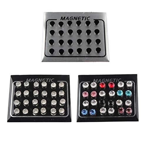 kowaku 36 Pares de Pendientes Magnéticos con Clip para Mujeres Y Niñas, Pendientes de Aretes de Piedra de Cristal