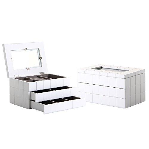 Lola Derek - Caja con joyero moderna blanca de madera para